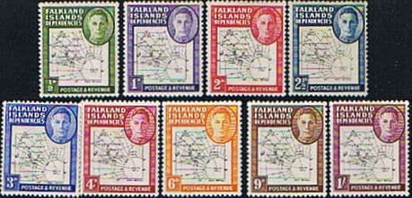 Stamps Falkland Islands Dependencies 1946 Thin Map Set Fine Mint