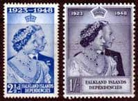 Falkland Islands Dependencies 1948 King George VI Royal Silver Wedding Set Fine Mint