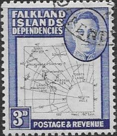 Falkland Islands Dependencies 1948 Thin Map SG G12 Fine Used