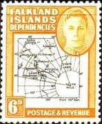Falkland Islands Dependencies 1948 Thin Map SG G14 Fine Mint