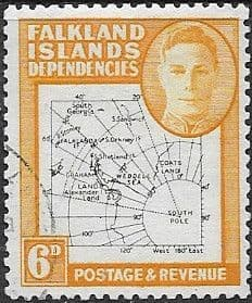 Falkland Islands Dependencies 1948 Thin Map SG G14 Fine Used