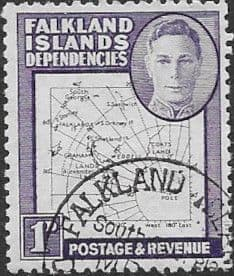 Falkland Islands Dependencies 1948 Thin Map SG10 Fine Used