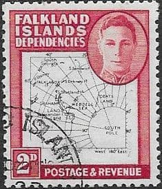 Falkland Islands Dependencies 1948 Thin Map SG11 Fine Used