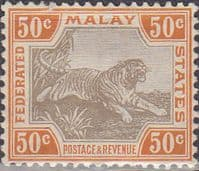 Federated Malay States 1904 SG 47c Tiger Fine Mint