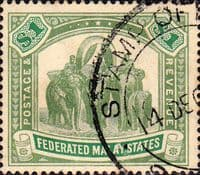 Federated Malay States 1904 SG 48 Elephants Used