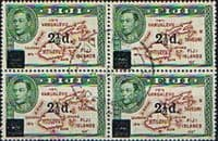 Fiji 1941 SG 267 Map of Islands Overprint Block of 4 Fine Used