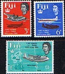 Postage Stamps Fiji 1964 25th Anniv of First Fiji-Tonga Airmail ServiceFine Mint
