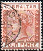 Gibraltar 1886 SG 12 Queen Victoria Head Fine Used