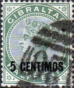 Gibraltar 1889 SG 15 Queen Victoria Head Surcharged Fine Used