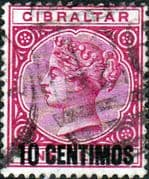 Gibraltar 1889 SG 16 Queen Victoria Head Surcharged Fine Used