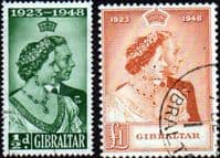Gibraltar 1948 King George VI Royal Silver Wedding Set Fine Used