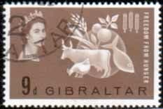 Gibraltar 1963 Freedom From Hunger Fine Used
