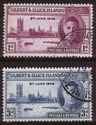 Gilbert and Ellice Islands 1946 King George VI Victory Set Fine Used