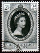 Gilbert and Ellice Islands Queen Elizabeth II 1953 Coronation Fine Used