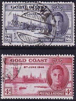 Gold Coast Stamps 1946 King George VI Victory Set Fine Used   SG 133 4 Scott 128 9