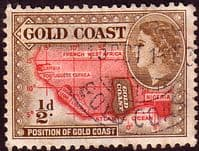 Gold Coast 1952 SG 153 Queen Elizabeth Map Fine Used