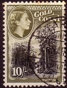Gold Coast 1952 SG 164 Queen Elizabeth Trees in Forrest Fine Used