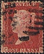 Great Britain 1858 Queen Victoria Penny Red SG 43 Plate 105 Good Used