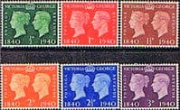 Great Britain 1940 Centenary of First Adhesive Postage Stamps Set Fine Mint