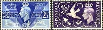 Great Britain 1946 Victory Issue Set Fine Mint