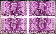 Great Britain 1948 Olympic Games SG 497 Fine Used Block of 4
