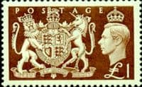 Great Britain 1951 King George VI SG 512 Royal Coat of Arms £1 Fine Mint