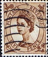 Stamps Great Britain 1955 Queen Elizabeth II Definitive SG 547 Fine Used Scott 324