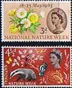 Great Britain 1963 National Nature Week Phosphor Set Fine Mint