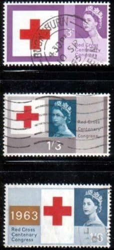 Great Britain 1963 Red Cross Centenary Phosphor Band Set Fine Used