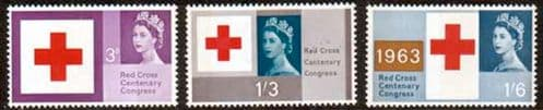 Great Britain 1963 Red Cross Centenary Phosphoros Band Issue Set Fine Mint