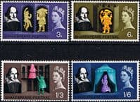 Great Britain 1964 William Shakespeare Phospher Band Set Fine Mint