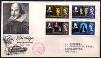 Great Britain 1964 William Shakespeare Phospher Band Set Fine Used on First Day Cover