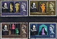 Great Britain 1964 William Shakespeare Phosphor Band Set Fine Used