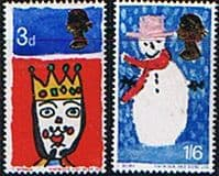 Great Britain 1966 Christmas Phosphor Band Set Fine Mint