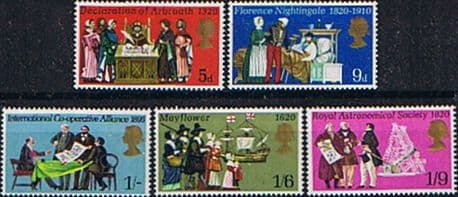 Postage Stamp Stamps Great Britain 1970 Anniversaries Events Set Fine Mint