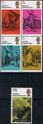 Postage Stamp Stamps Great Britain 1970 Charles Dickens Set Fine Mint
