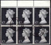Great Britain 1970 High Values SG 831b Block of 6 Fine Used