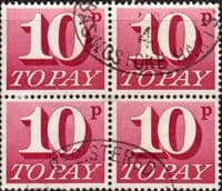 Great Britain 1970 Post Due SG D 84 Fine Used Block of 4