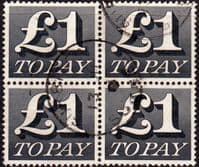 Great Britain 1970 Post Due SG D 88 Fine Used Block of 4
