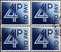 Great Britain 1982 Post Due SG D 93 Fine Used Block of 4