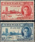 Grenada 1946 King George VI Victory Set Fine Used