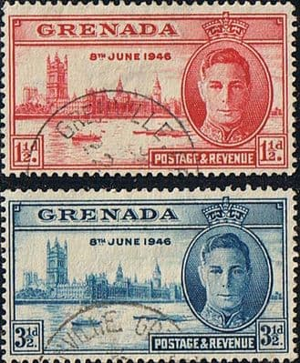 Grenada Stamps 1946 King George VI Victory Set Fine Used