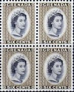 Grenada 1953 Queen Elizabeth Head SG 198 Fine Mint Block of 4