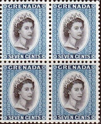 Grenada 1953 Queen Elizabeth Head SG 199 Fine Mint Block of 4