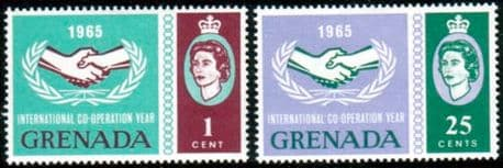 Postage Stamps of Grenada 1965 International Co-operation Year Set Fine Mint