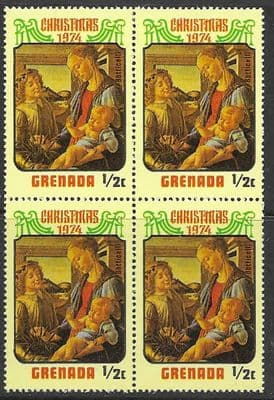 Grenada 1974 Christmas SG 640 Fine Mint Block of 4