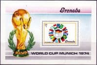 Grenada 1974 World Cup Football Championship Miniature Sheet Fine Mint