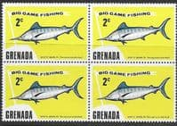 Grenada 1975 Big Game Fishing SG 671 Fine Mint Block of 4