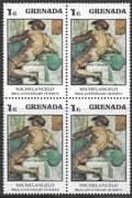 Grenada 1975 Michelangelo SG 746 Fine Mint Block of 4