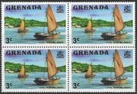 Grenada 1975 SG 652 Large working Boats Fine Mint Block of 4
